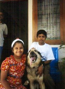Arjun and Sanju with Bingo. We miss you Bingo.