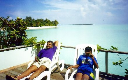 Relaxing at an island resort in Maldives with Dad