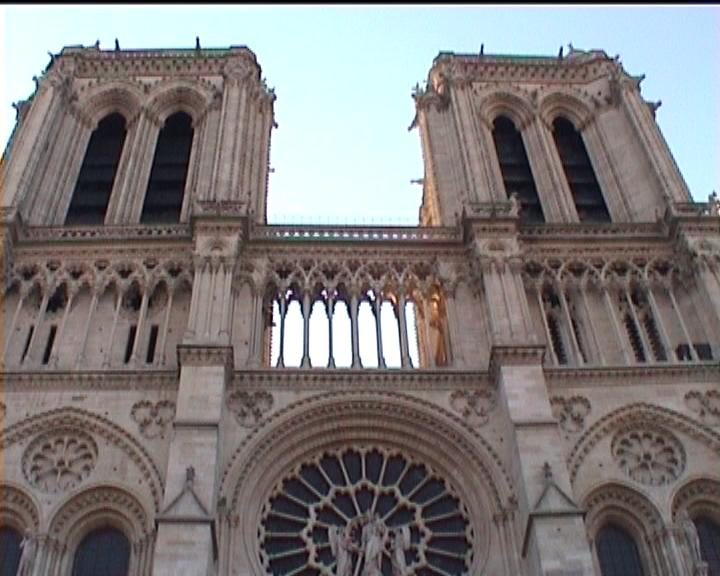 front facade of the cathedral of Notre Dame